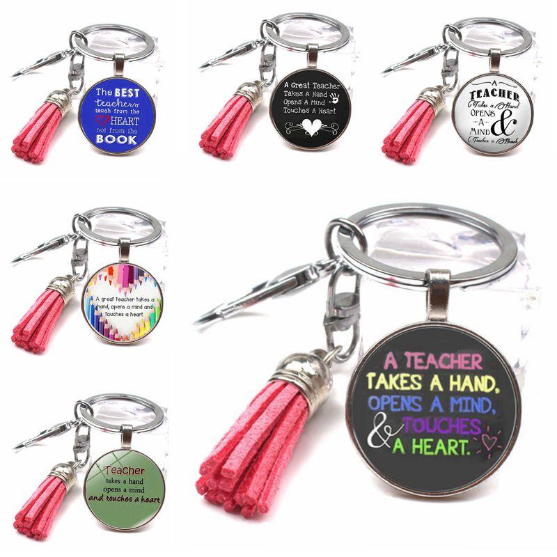 Fashion Thanks Teacher Text Keychain Cute Multicolor Tassel Keychain DIY Crystal Glass Dome Keychain Teacher's Day Creative Gift