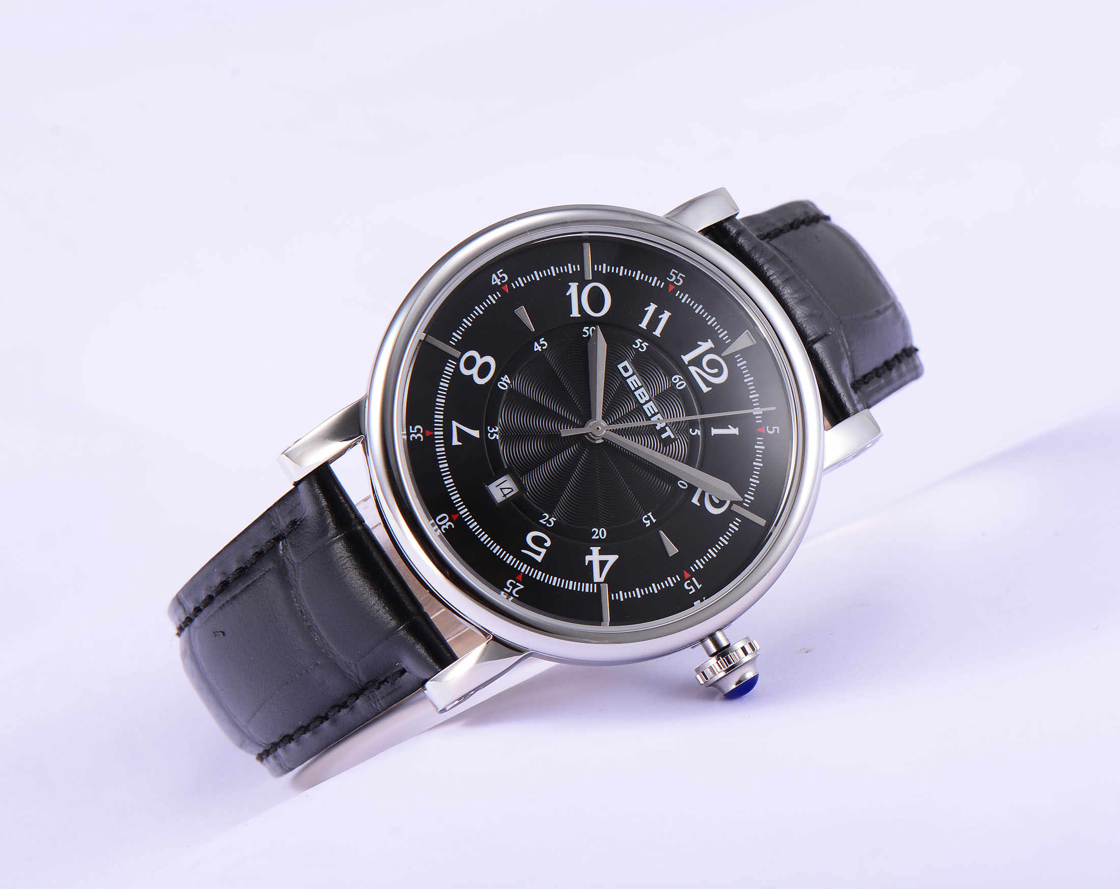 Debert 43mm Black dial date leather strap stylish casual men's automatic mechanical watch