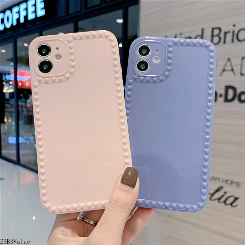 Candy Color Simple Phone Case For Iphone 11 12 Mini Pro Max 7 8 Plus X XS XR Cute Love Heart Soft TPU Shockproof Cover