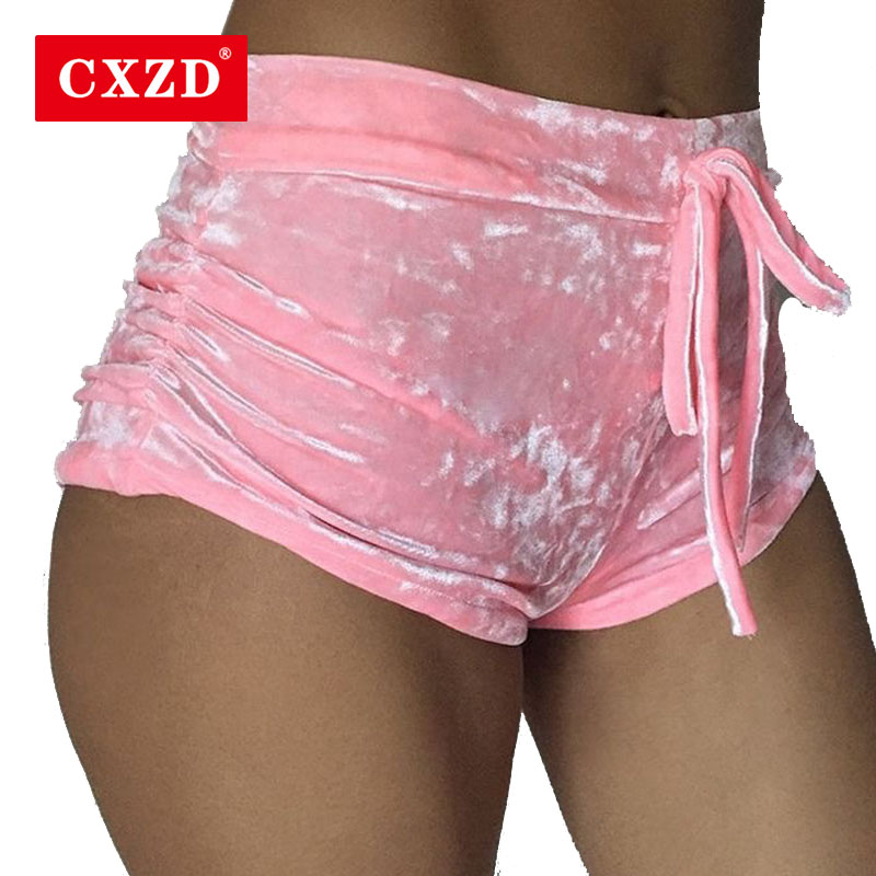 CXZD Summer New Women Pink Velvet Slim Sports Shorts Sexy Bodycon Workout Flannel Short Pants Casual Lady Elastic Soft Sportwear