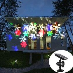 Disco Laser de Luz Do Floco De Neve de Natal Solar IP65 Queda de Neve Ao Ar Livre Em Movimento Lâmpada Do Projetor A Laser Para Festa de Ano Novo decoração Do Casamento