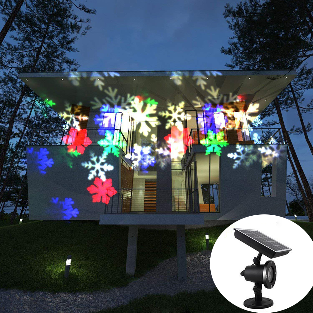 Solar Christmas Snowflake Laser Disco Light IP65 Outdoor Moving Snowfall Laser Projector Lamp For New Year Party Wedding Decor