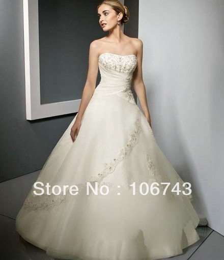 Dresses Free Shipping 2016 Custom Strapless Size/colors Real Applique Lace Dress Beading Satin Bridal Puffy Wedding Dresses