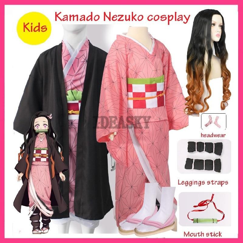 Mädchen Kinder kind Anime Dämon Slayer Kimetsu keine Yaiba Tanjirou Kamado Nezuko Zenitsu Shinobu Cosplay Kimono Cosplay Kostüm Perücke