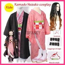 Meisjes Kids Kind Anime Demon Slayer Kimetsu Geen Yaiba Tanjirou Kamado Nezuko Zenitsu Shinobu Cosplay Kimono Cosplay Kostuum Pruik