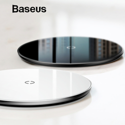 Baseus 10 Вт Qi Беспроводное зарядное устройство для iPhone XR XS Max X 8 прозрачная стеклянная Беспроводная зарядная площадка для samsung Galaxy S9 S8 Note 10