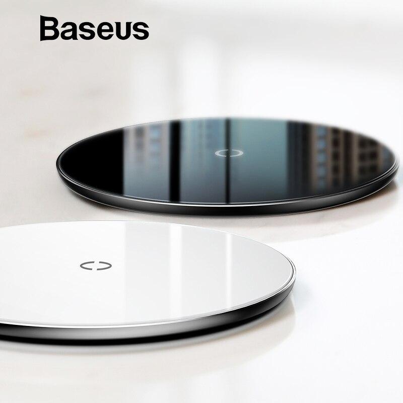 Baseus 10W צ 'י אלחוטי מטען עבור iPhone XR XS מקסימום X 8 שקוף זכוכית אלחוטי טעינת Pad עבור סמסונג גלקסי S9 S8 הערה 10