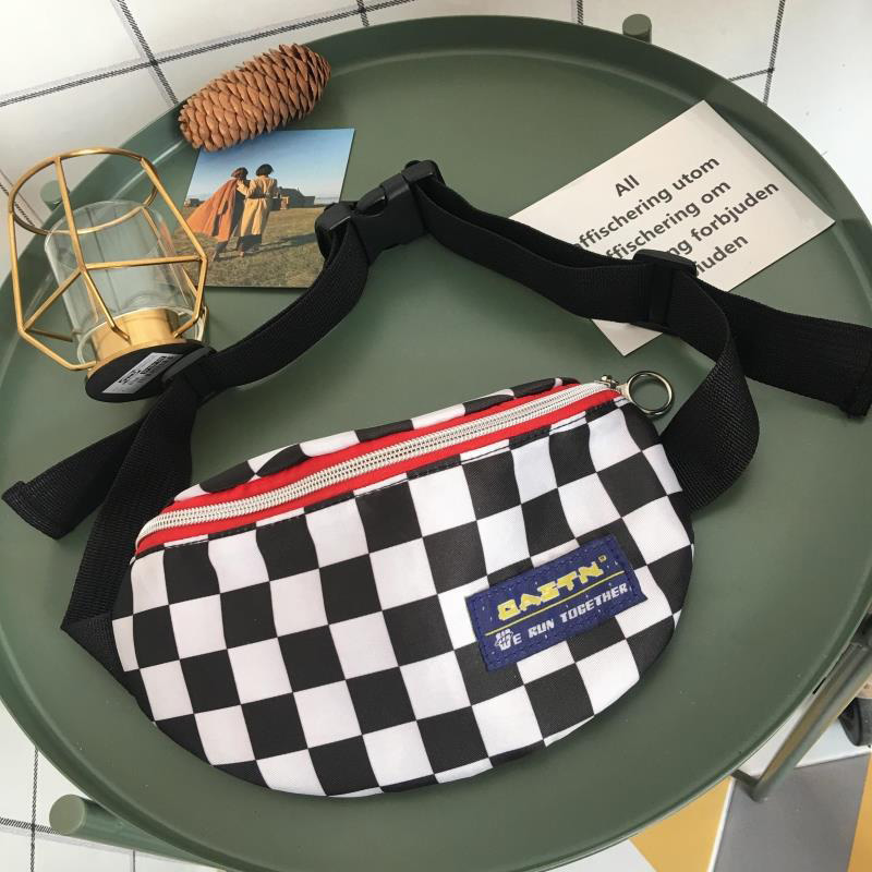 Canvas Waist Bag Unisex Belt Bag Lattice Checkerboard Fanny Pack Female Shoulder Belt Cellphone Chest Bags Wholesale