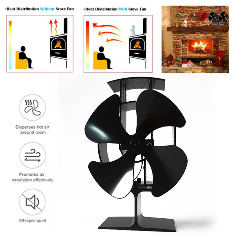 4 Blades Fireplace Eco Fan Stove Heat Efficient Powered Distribution Circulation Log Wood Burner Fireplace Parts
