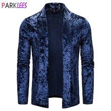 Cardigan Sweater Velour Royal-Blue Coat Men Fashion Autumn Shawl Collar Pull Slim-Fit