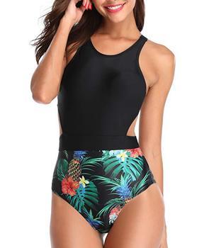 Leaf Print Backless One Piece Bikini Set Hollow Zipper Black Slim Swimsuit Women Swimsuit Brazilian Bathing Suit Swimwear Women 2