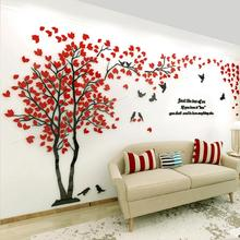 цена на Acrylic 3D Wall Stickers Tree Leaves Bird Weeding Bedroom Kitchen Home Living Room Decoration Wall Decor