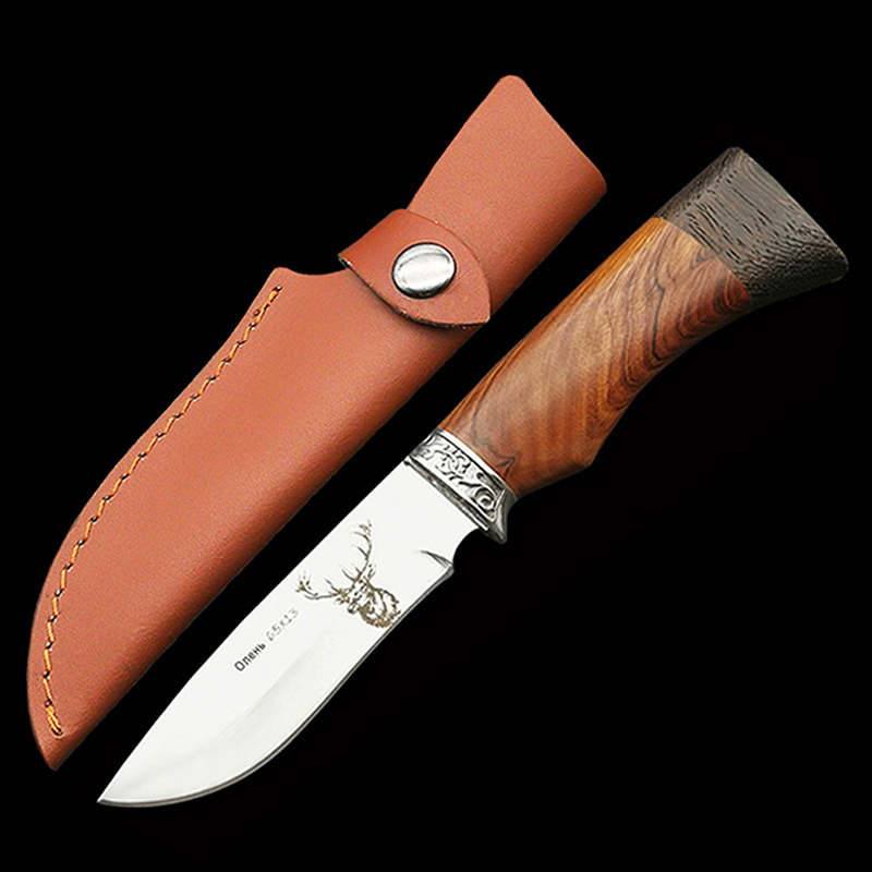 ToughKeng 440C Stainless Steel Fixed Blade Hunting Knives Wenge Wood Handle Outdoor Survival Utility Knife Wild Deer With Sheath