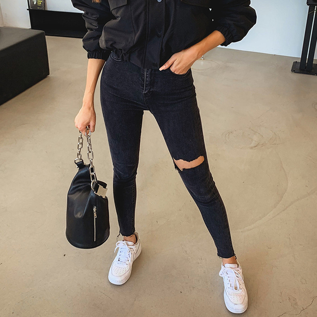 Mozuleva 2019 Sexy de alta borla cintura vaqueros pantalones vaqueros con agujeros Mujer Pantalones lápiz mujer Skinny pantalones vaqueros negros 2