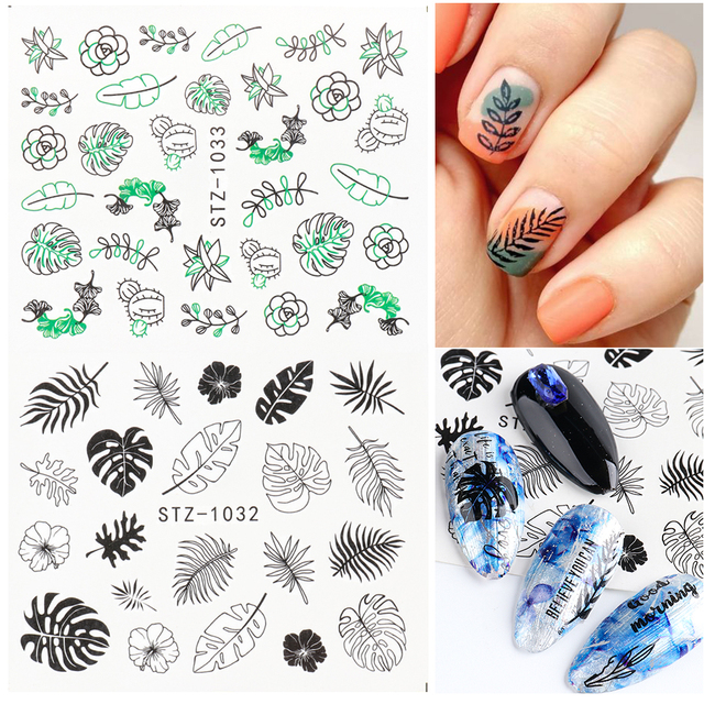 Abstract Lady Face Nail Decals Water Black Leaf Sliders Paper Nail Art Decor Gel Polish Sticker Manicure Foils CHSTZ1018-1033 6