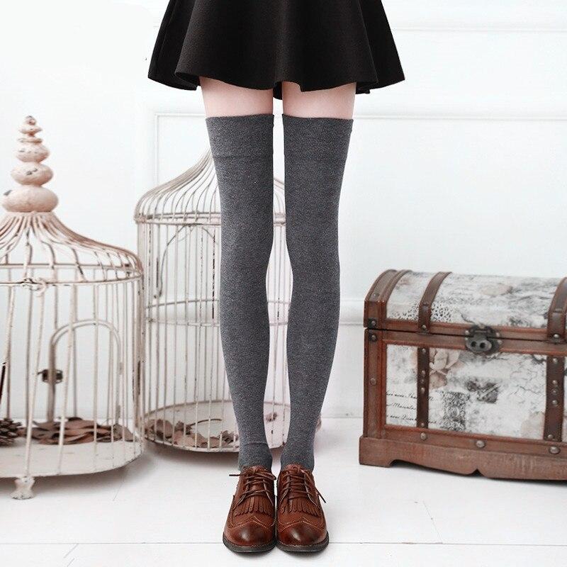 Hohe Knie Socken frauen Oberschenkel Hohe Weiß Schwarz Strümpfe Schwarz Über Knie Strümpfe für Schule Mädchen Damen Lange Strumpf 6 farbe