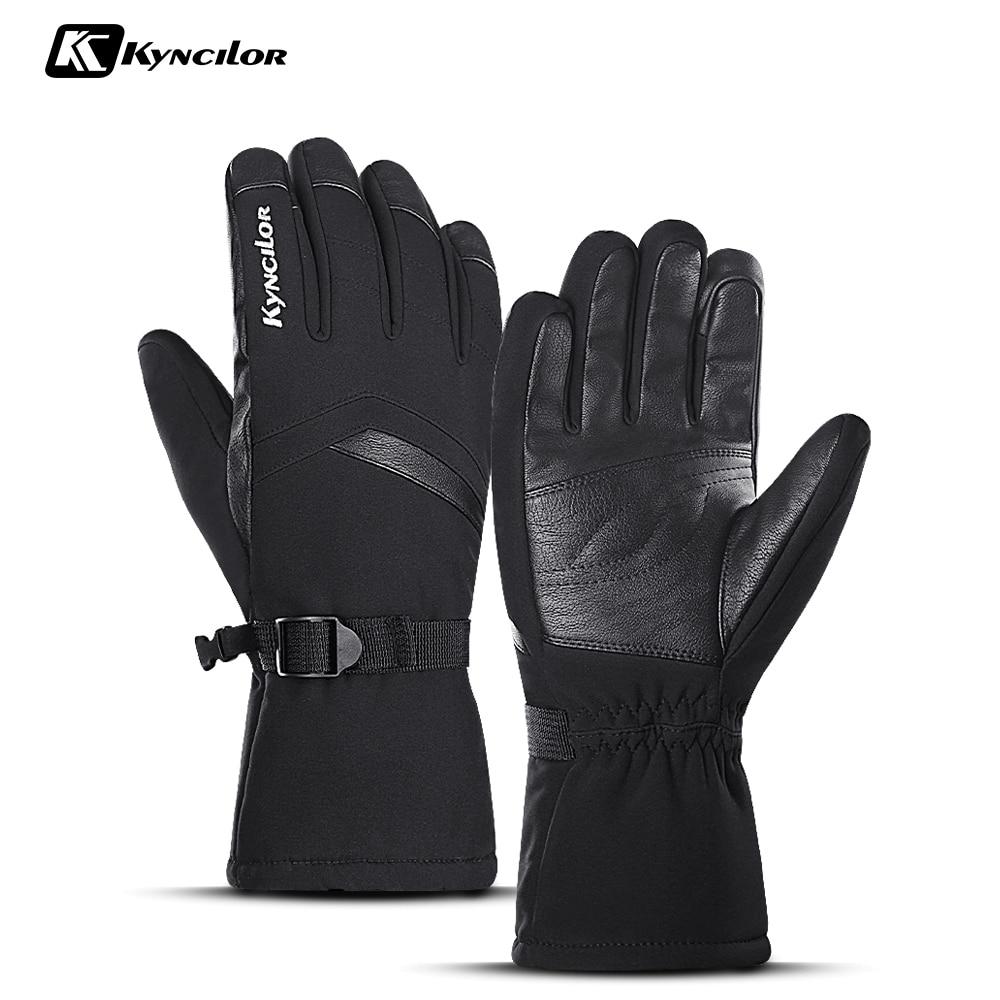 Утолщенные лыжные перчатки из искусственной кожи для спорта на открытом воздухе Зимние теплые мотоциклетные ветрозащитные водонепроницае...