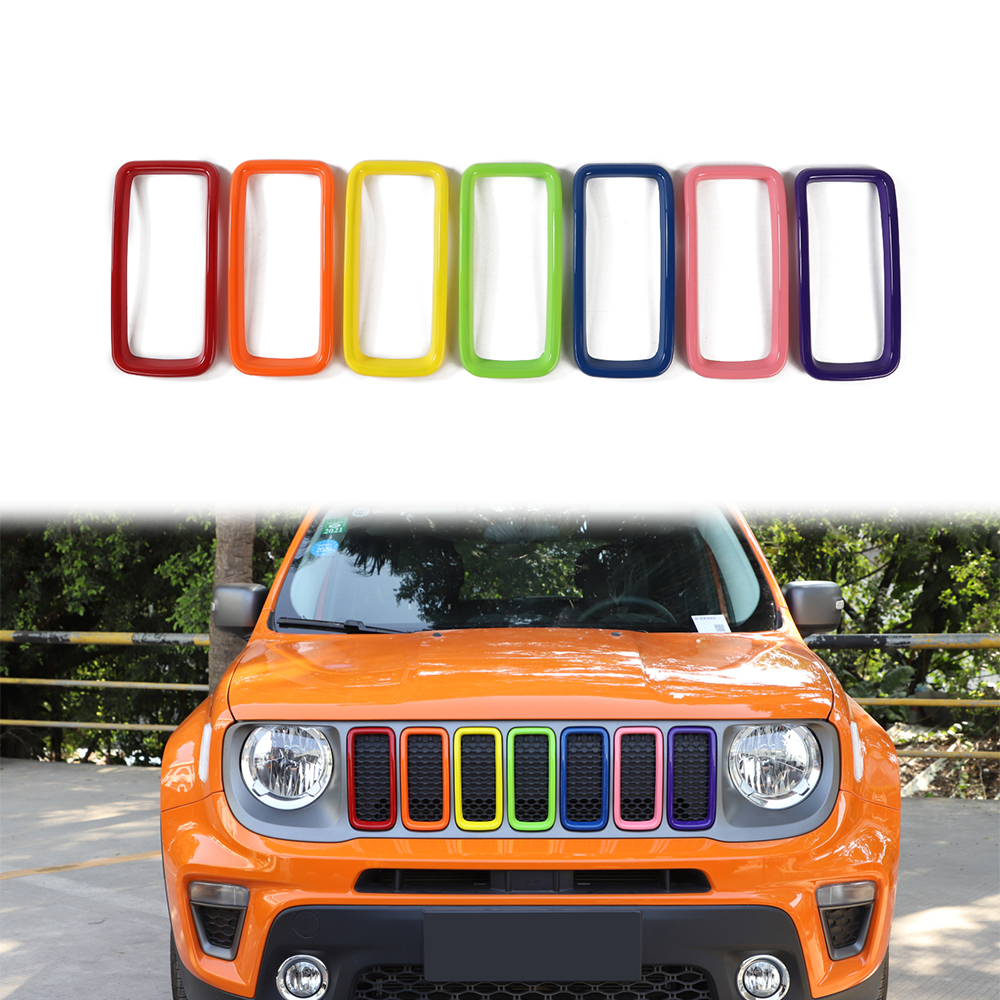 Front Grill Air Inlet Car Protector Covers For Jeep Renegade Chrome Accessories