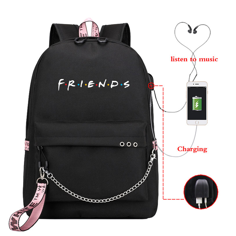Mochila Friends Pink Backpack Women Backpacks Laptop Backpack Bookbags Usb Charge School Bags For Teenage Girls Boys Travel Bags