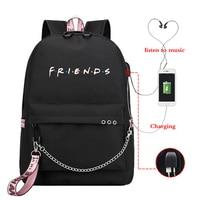 Mochila Friends Pink Backpack Women Backpacks Laptop Backpack Bookbags Usb Charge School Bags for Teenage Girls Boys Travel Bags