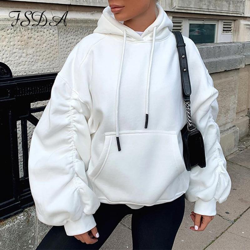 FSDA Lange Geraffte Hülse Puff Übergroßen Sweatshirt Frauen Weiß 2020 Hoodie Grau Lose Herbst Winter Pullover Streetwear Tops