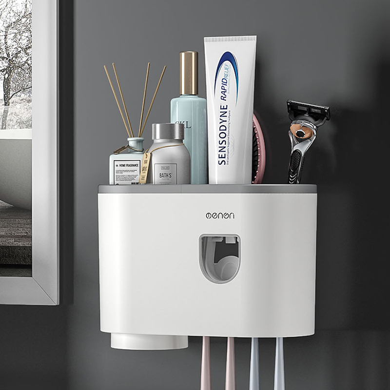 Fixado Na Parede Dispensador de creme dental Espremedor de pasta de Dente escova de Dentes Titular acessórios de casa de Banho conjunto de Banheiro Produto