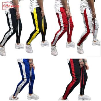 SITEWEIE moda męska Slim Fit spodnie dresowe sznurkiem paski spodnie dresowe spodnie sportowe spodnie Hip hopowe Casual G174 tanie i dobre opinie Ołówek spodnie Pełnej długości skinny COTTON Midweight