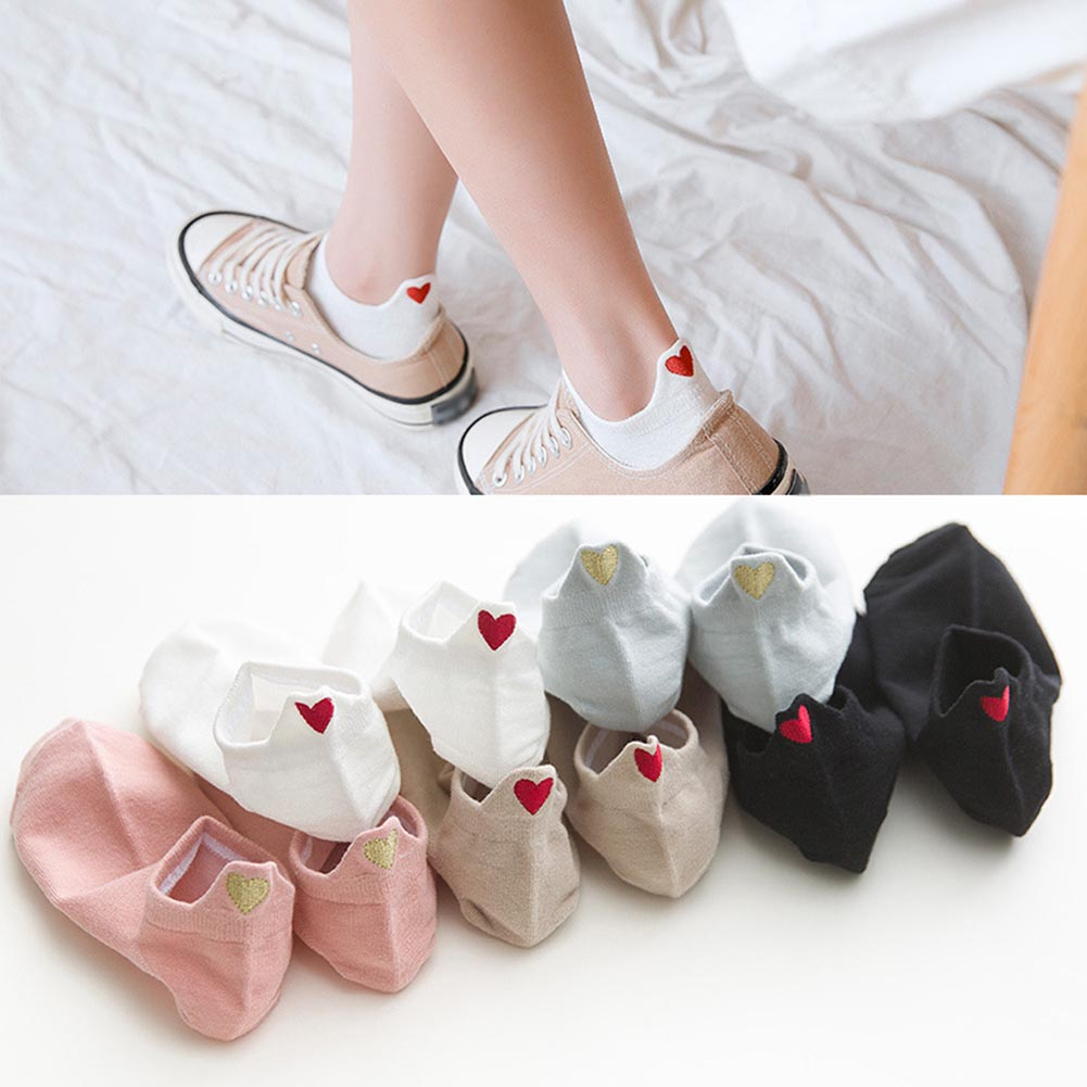 Korean Kawaii Summer Solid Small Love Patterned Cute Socks Women Casual Socks Candy Color Short All Cotton Elastic Boat Socks