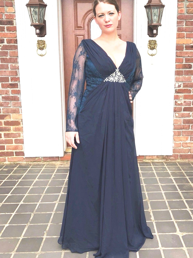 Dark Navy Blue Mother Of The Bride Dress Lace Long Sleeve Chiffon Mother Of The Groom Suit Wedding Guest Party Evening Gowns
