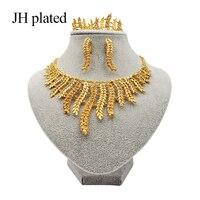 JHplated Модный комплект блестящих ювелирных изделий в эфиопском эритрейском стиле из золота в африканском стиле ожерелье/серьги/Кольцо/брасл...