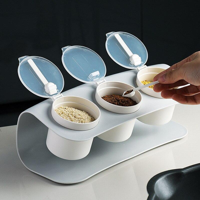 ATUCOHO Kitchen Home Creative Seasoning Box Simple Style Durable Flip Cover Seasoning Bottle Flip Type Kitchen Airtight Food Jar