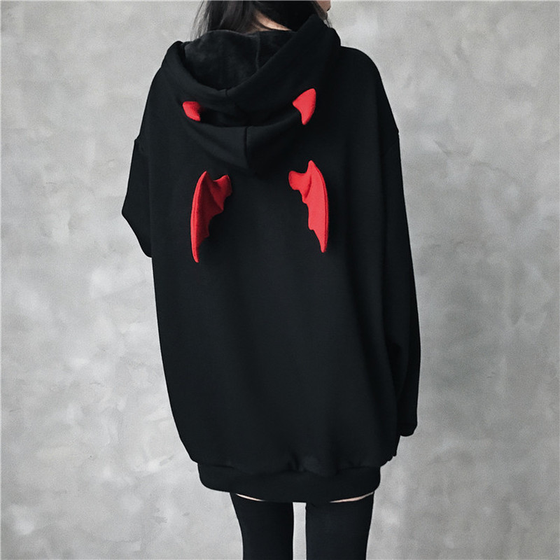 Fall Winter Women Sweatshirts Girl Harajuku Cute Hoodies  Punk Gothic Devil Horn Chic Hooded Pullover Loose Sweatshirt