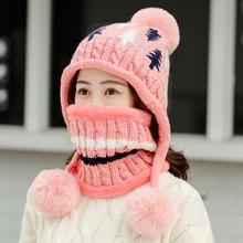 Шапка для девочек; милая и милая осенняя и зимняя шерстяная шапка с плюшевой теплой защитой ушей; вязаная шапка; пуловер; шапка