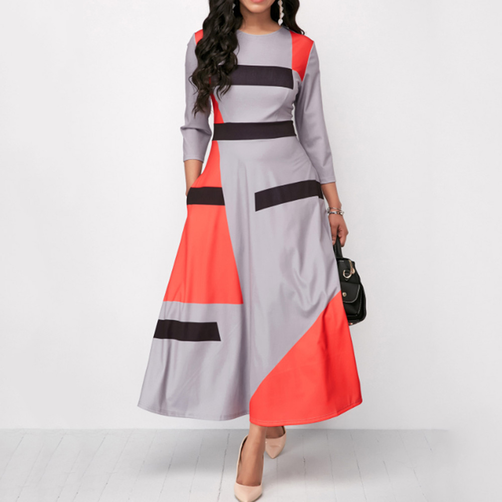 High Waist Long Dress Autumn Long Sleeve African 2019 Striped Patchwork Women Maxi Dresses Robe Office Lady Vestiods Pullover