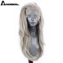 Anogol gümüş gri sentetik dantel ön peruk uzun doğal dalga peruk kadınlar için yüksek sıcaklık Fiber