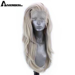 Image 1 - Anogol gümüş gri sentetik dantel ön peruk uzun doğal dalga peruk kadınlar için yüksek sıcaklık Fiber