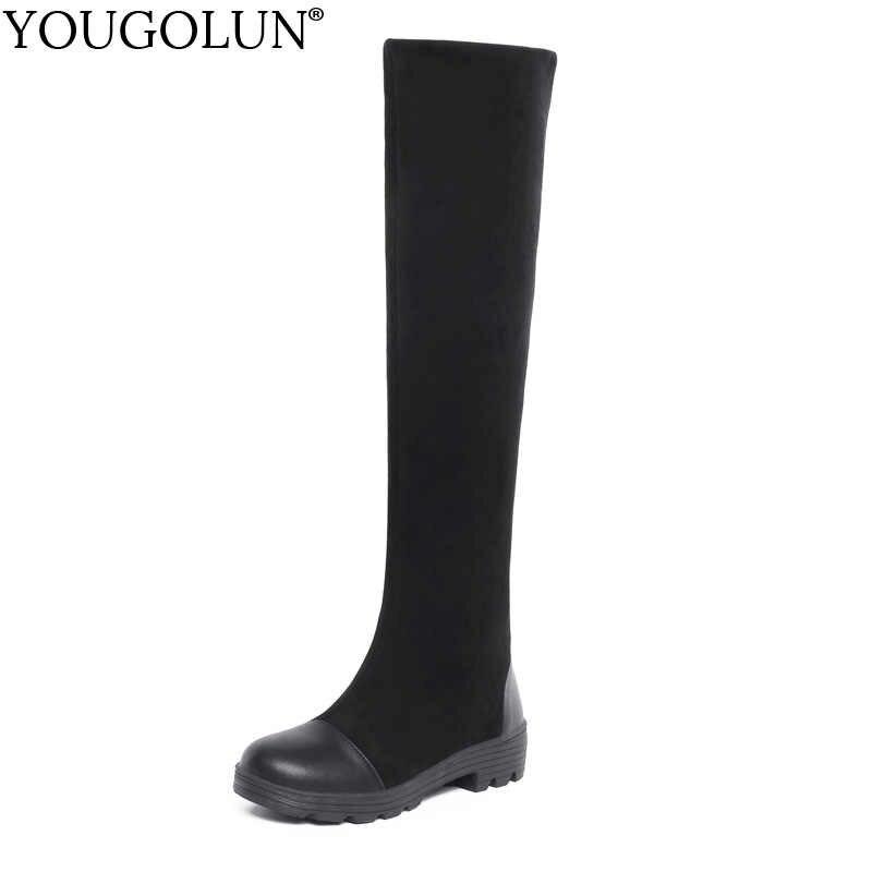 Кожаные высокие сапоги до бедра; Женская осенне-зимняя обувь на среднем квадратном каблуке; пикантные женские черные стрейчевая Ткань Сапоги выше колена; A362