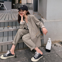 Plaid Loose Ladies Suits Stylish Solid Gray Casual Blazer Dress Simple Bayan Mont Korean Vintage Women Pant Suit Spring MM60NTZ