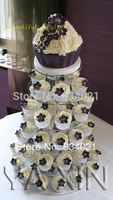 6 Tier Clear Acrylic Cupcake And Cake Tower Display Stand Round Party Acrylic Cake Showcase Show Stand party decoration