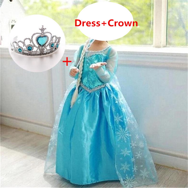 Fancy Baby Girl Role Play Princess Dress for Girls Clothing Halloween Fancy Cosplay Costume Christmas Party Gift Crown 1