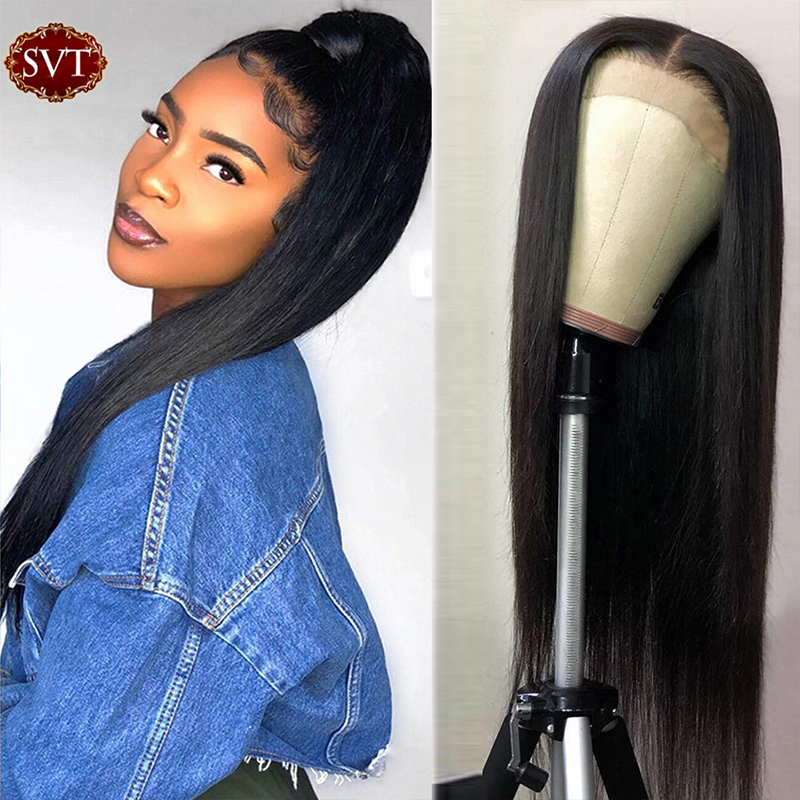 SVT 150%/180% Density Lace Closure Human Hair Wigs PrePlucked Hairline Remy Indian Straight 4×4 Lace Closure Wig For Black Women