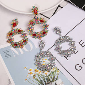 Drop-Earrings Rhinestone Fashion Jewelry Geometric Korean Vintage Women Statement Metal