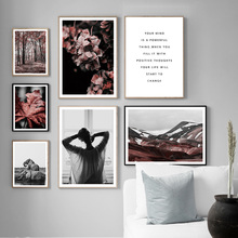 Flower Leaf Elephant Lazy girl Wall Art Canvas Painting Nordic Posters And Prints Landscape Pictures For Living Room Decor