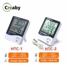 1x lcd HTC-1 HTC-2 eletrônico digital temperatura medidor de umidade termômetro higrômetro estação meteorológica ao ar livre indoor relógio