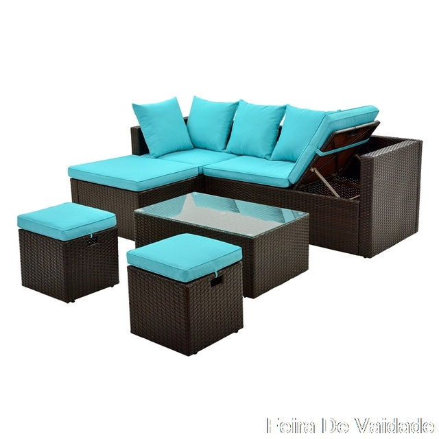 5-Piece Patio Furniture Set with Glass Table and Adjustable Chair 6