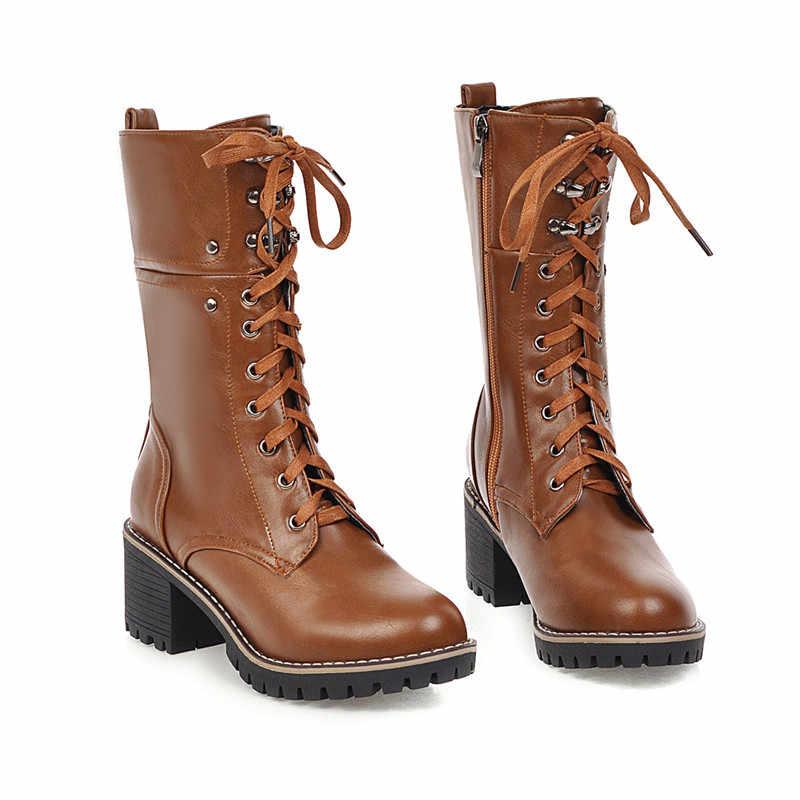 MEMUNIA 2020 büyük boy 43 kadın yarım çizmeler lace up yuvarlak ayak kare topuklu platform çizmeler basit sonbahar kış rahat ayakkabılar kadın