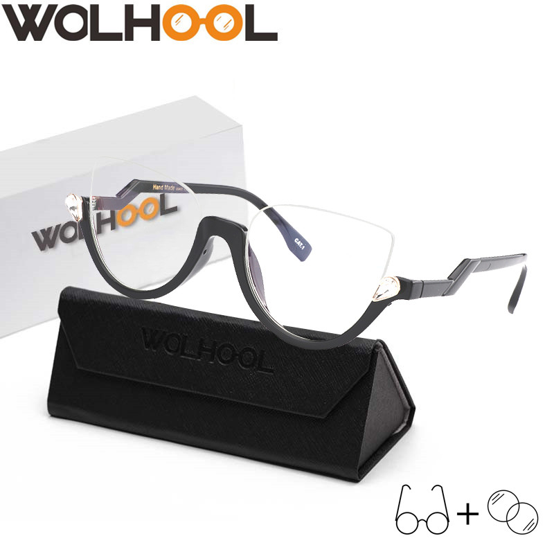 Big Discount Vintage Unique Big Frame Glasses Fancy Oversize Optical Frames Women Trendy Half Frame Eye Glasses Men Prescription Eyewear