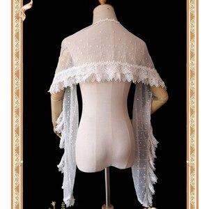 Image 3 - Uroczy biały Lolita koronkowy szal długie damskie szale od Infanta