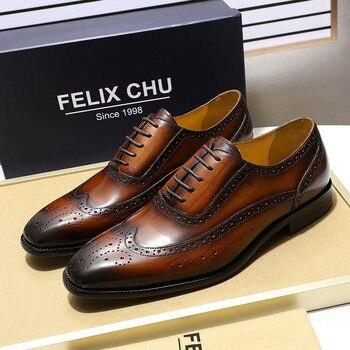 FELIX CHU Classic Wingtip Medallion Brogue Oxford Men's Dress Shoes Genuine Leather Black Brown Lace Up for Men - discount item  55% OFF Men's Shoes
