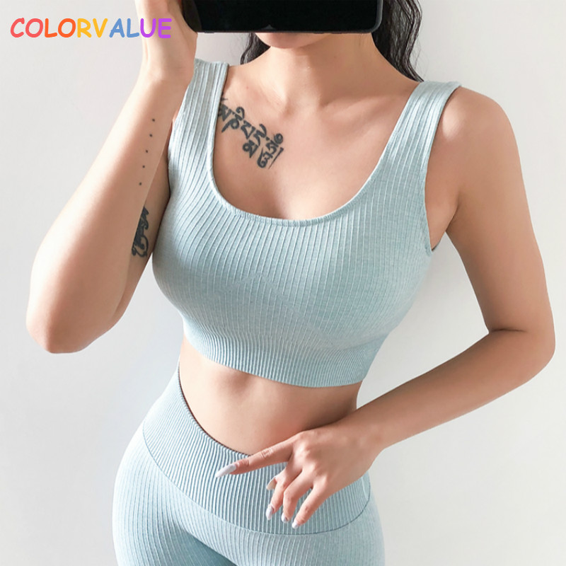 Colorvalue Ribbed Shockproof Plain Running Sports Bras Tops Women Widen Straps Seamless Fitness Crop Top Athletic Yoga Bras